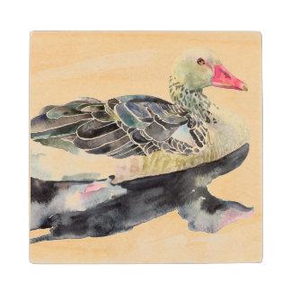 手の引くことの水彩画の鳥、アヒル ウッドコースター