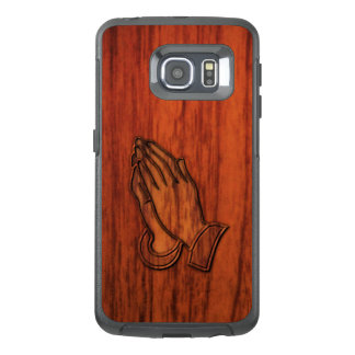 手の木製のプリントを祈ること オッターボックスSamsung GALAXY S6 EDGEケース