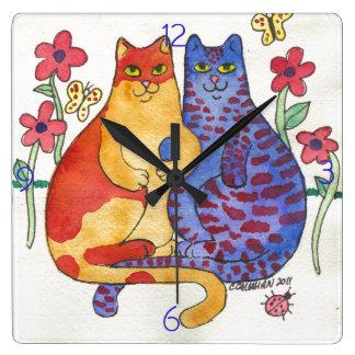 手の民芸を保持している猫 スクエア壁時計