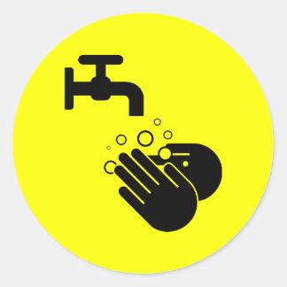 手の洗浄ステッカー ラウンドシール