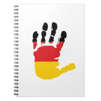 手の螺線形ノートのドイツの旗 ノートブック