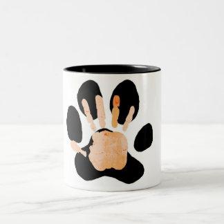 手の足のプリント ツートーンマグカップ