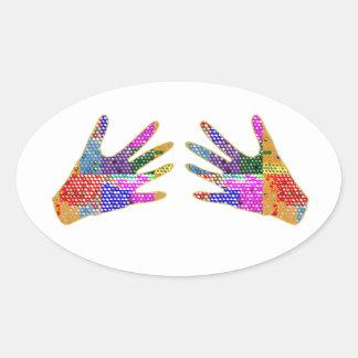 手のHennaの友情の抱擁 楕円形シール