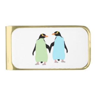 手を握っているゲイプライドのペンギン 金色 マネークリップ