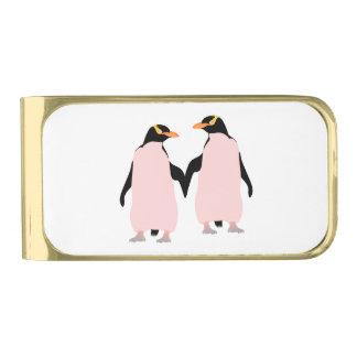 手を握っているゲイプライドのレズビアンのペンギン ゴールド マネークリップ