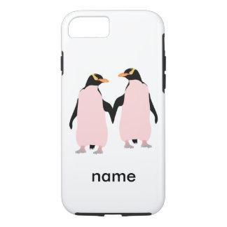 手を握っているゲイプライドのレズビアンのペンギン iPhone 8/7ケース