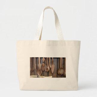 手作りされた木のスプーン ラージトートバッグ