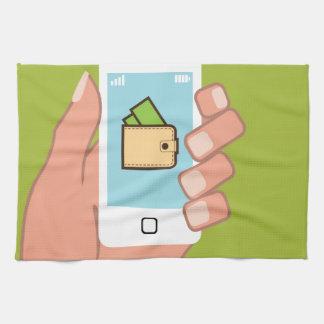 手元の財布の電話 タオル
