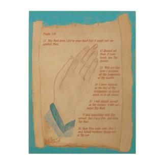 手及び聖書スクロールPsの119:11 - 18 --を祈ります ウッドウォールアート