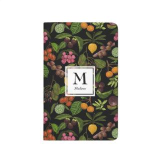 手塗りのエキゾチックなトロピカル・フルーツのモノグラム ポケットジャーナル