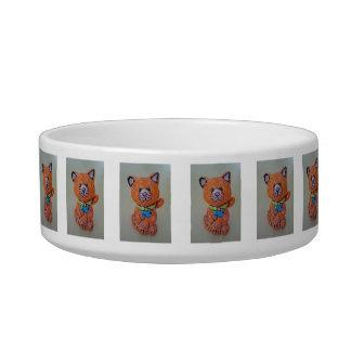 手塗りのオレンジ猫が付いているペットボウル ボウル