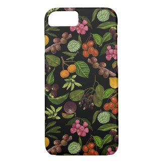 手塗りのカラフルでエキゾチックなトロピカル・フルーツパターン iPhone 7ケース