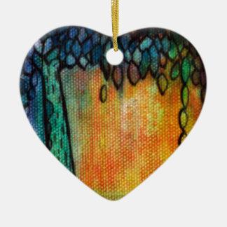 手塗りのカラフルな生命の樹 セラミックオーナメント