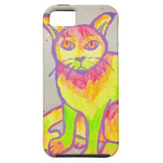 手塗りのネオン猫のiPhone 5/5S/SEの場合 iPhone SE/5/5s ケース