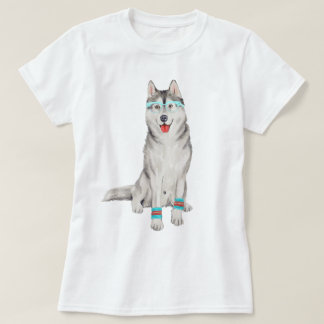 手塗りのヒップスターのシベリアンハスキー犬 Tシャツ