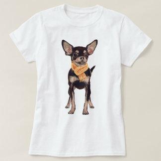 手塗りのヒップスターのチワワ犬 Tシャツ