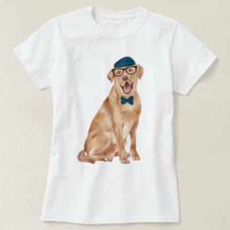 手塗りのヒップスターのラブラドール犬 Tシャツ