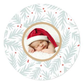 手塗りのマツクリスマスの写真カード 13.3 スクエアインビテーションカード