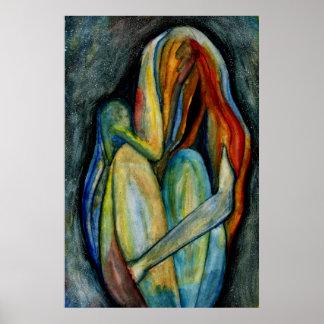 手塗りの抽象的な姿の水彩画のファインアート ポスター