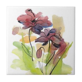 手塗りの抽象芸術2の花の夏のデザイン タイル