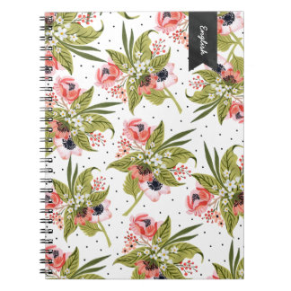 手塗りの花のケシのノート ノートブック