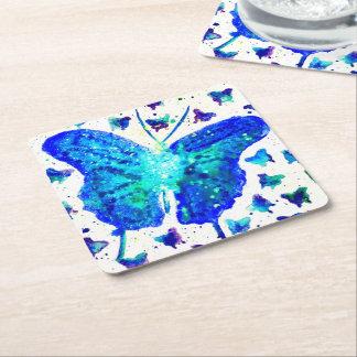 手塗りの蝶コースター スクエアペーパーコースター