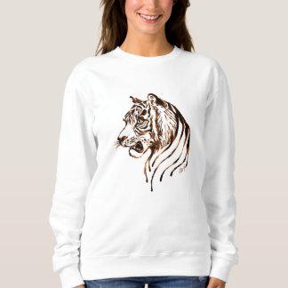 手塗りチョコレートトラの芸術の女性のセーター スウェットシャツ