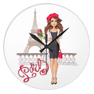 手塗りファッションのパリの女の子 ラージ壁時計
