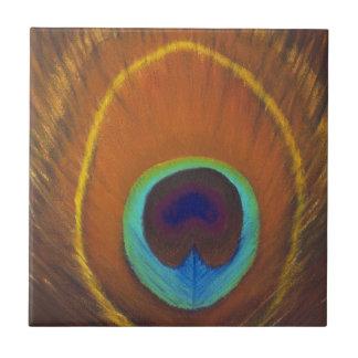 手塗り美しい元の孔雀の羽 タイル
