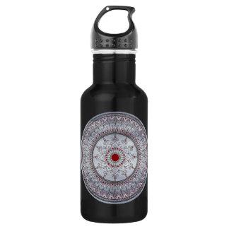 手描きのかわいらしい灰色および赤い曼荼羅の花 ウォーターボトル