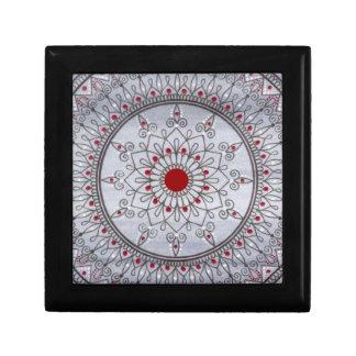 手描きのかわいらしい灰色および赤い曼荼羅の花 ギフトボックス