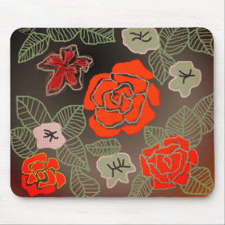 手描きのばら色の芸術 マウスパッド