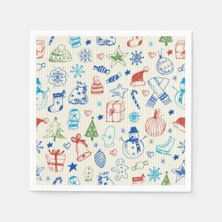 手描きのクリスマスのナプキンのデザイン スタンダードカクテルナプキン