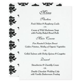 手描きのダマスク織の結婚式メニューカード カード
