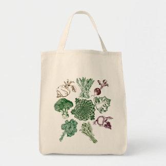 手描きのビーガンの食糧プリントが付いているトートバック トートバッグ