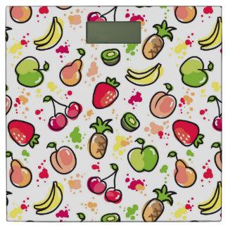 手描きのフルーツパターン 体重計