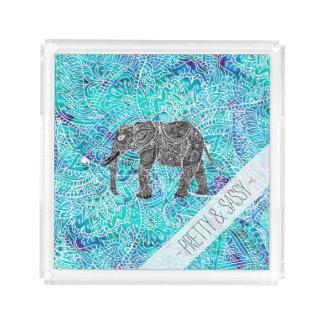 手描きのペーズリーのboho象の青のターコイズ アクリルトレー
