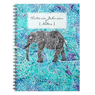 手描きのペーズリーのboho象の青のターコイズ ノートブック