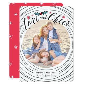 手描きの円の写真の休日カード カード