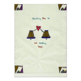 手描きの結婚式招待状カード カード