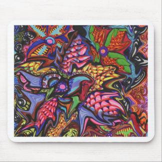 手描きの花のアートワーク マウスパッド
