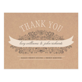 手描きの花|の素朴な花柄は感謝していしています ポストカード