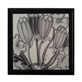 手描きの花nのポット- ギフトボックス