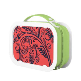 手描きの華麗さ海軍または珊瑚のお弁当箱 ランチボックス