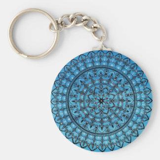 手描きの青い曼荼羅Keychain キーホルダー