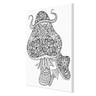 手描きの魔法のきのこの落書き6 キャンバスプリント