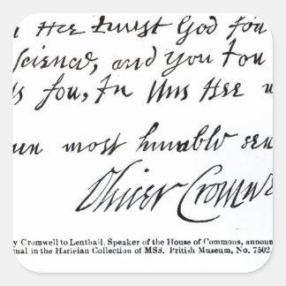 手書きからの署名オリバー・クロムウェル、 スクエアシール