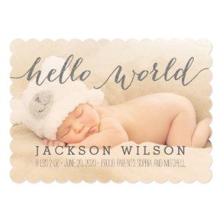 手書きのベビーの誕生の発表の写真カード カード