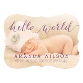 手書きのモダンなベビーの誕生の写真の発表 カード