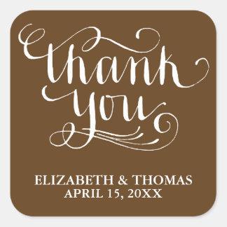 手書きの原稿の結婚式はステッカー感謝していしています スクエアシール